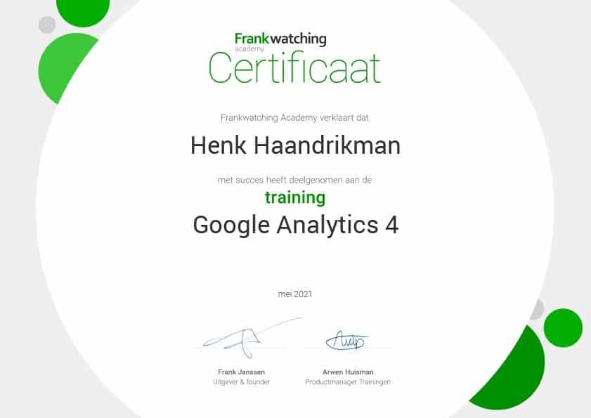 Google Analytics 4 gecertificeerd